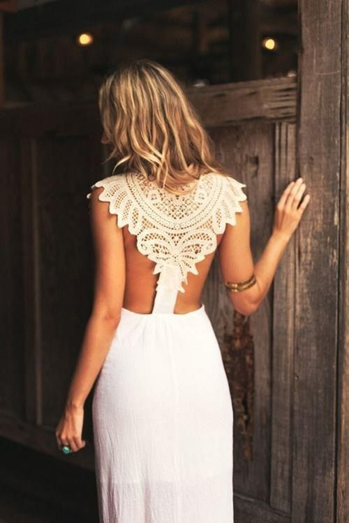 sexy wedding dress with a tribal-inspired lace racerback