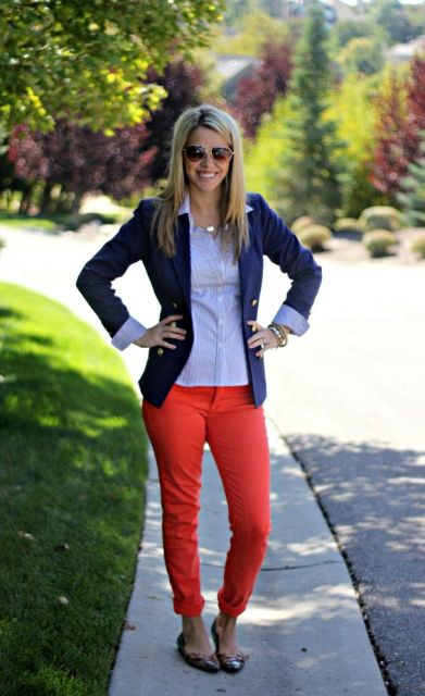 With blue jacket, classic shirt and flats