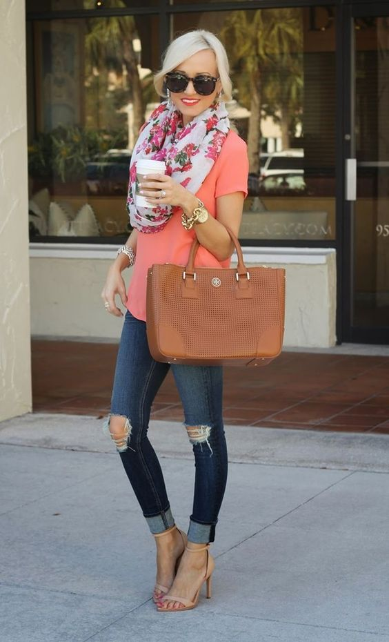 nude heels, ripped jeans, a croal shirt and a floral scarf