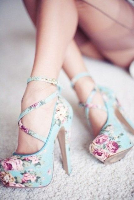 blue lace up shoes with a platform and high heels