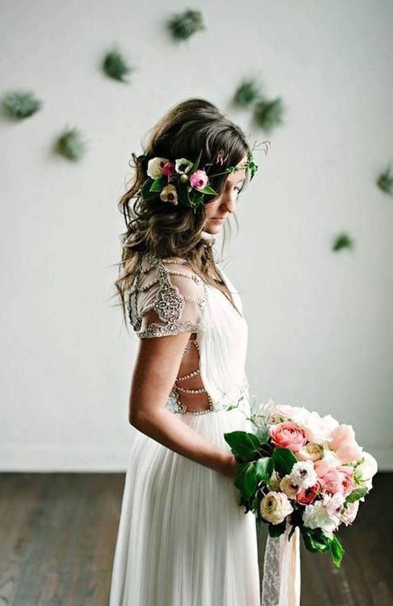boho wedding dress with cap sleeves, embellishments and side cutouts