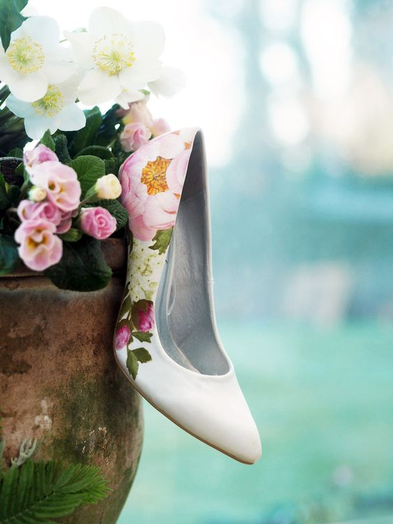ivory shoes with hand painted realistic flowers