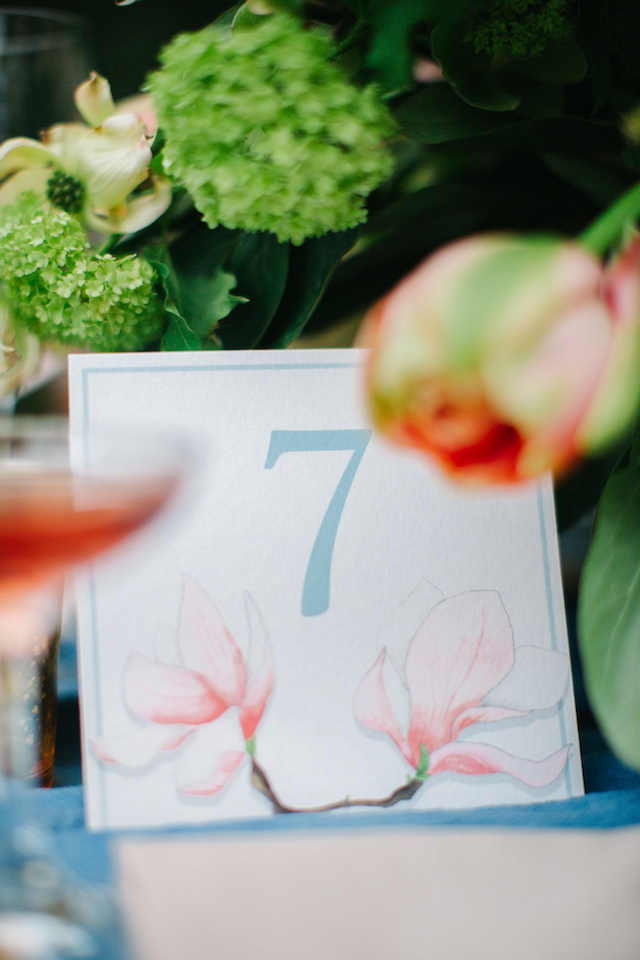 Magnolia themed table number | Greta Tucker Photographer