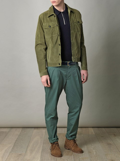 Olive green jacket with shirt, green pants and brown suede shoes
