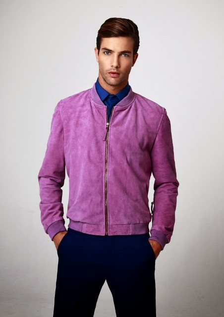 Purple jacket with cobalt blue shirt and navy blue pants