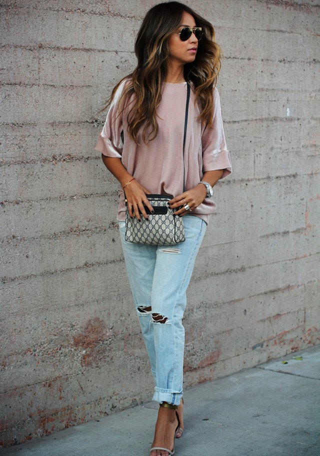 distressed denim, a blush blouse and nude sandals