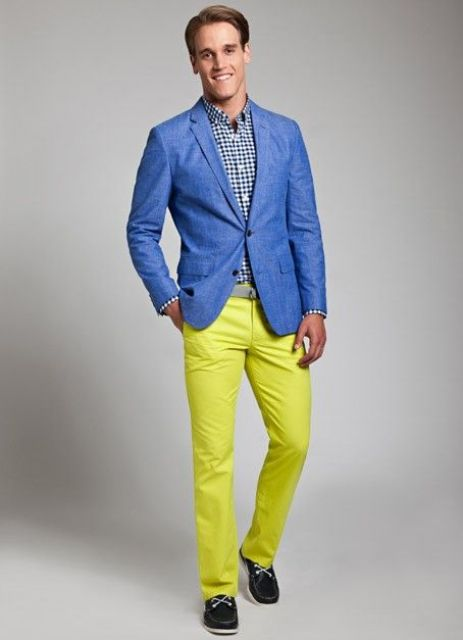 With checked shirt, blue jacket and black shoes