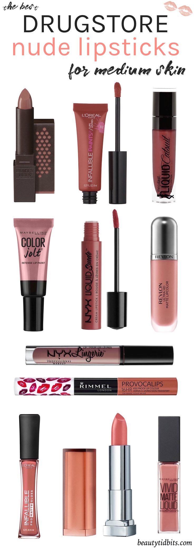 Looking for the best drugstore nude lipstick for your fair-medium olive skin? Check out this handy guide to find your perfect neutral lip colors, all under $  10!