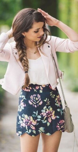 a floral mini with a scallope edge, a white top and a blush leather jacket