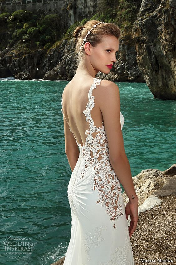 spaghetti strap U cut back wedding dress with lace inserts