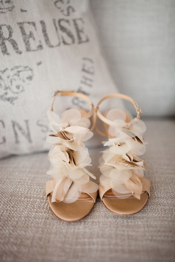 champagne colored wedding sandals with fabric flowers