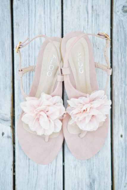 blush bridal sandals with fabric flower clips