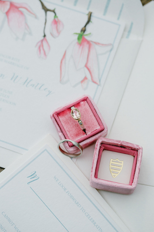 Rose Quartz velvet ring box | Greta Tucker Photographer