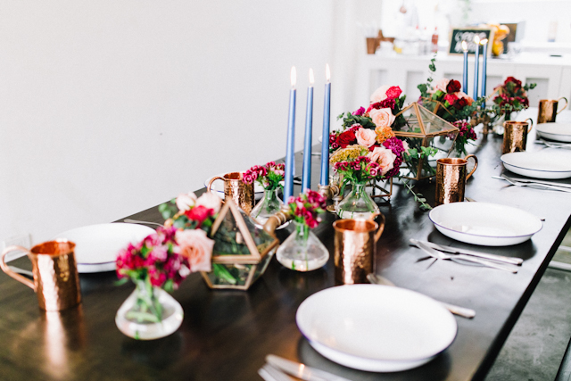 Marsala, copper and blue tablescape | Blinkbox Photos and Cuckoo Cloud Concepts