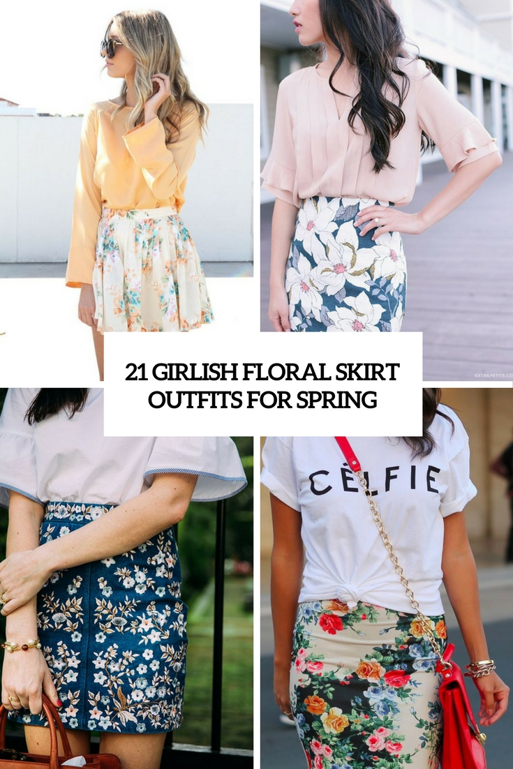 girlish floral skirt outfits for spring cover