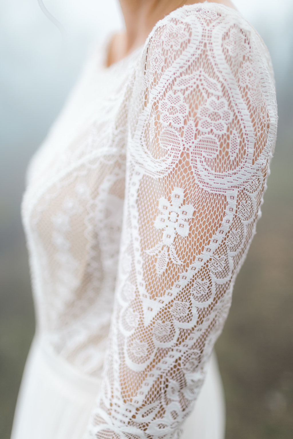 lace wedding gowns - photo by Natalie Schutt http://ruffledblog.com/misty-dream-vow-renewal-at-knapps-castle