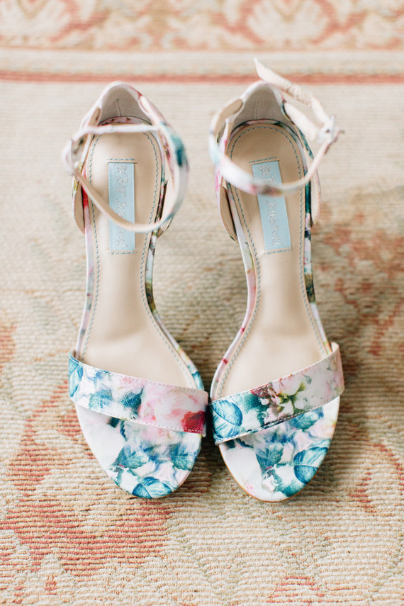 The bride chose floral heels by BHLDN, which is one of her favorite brands