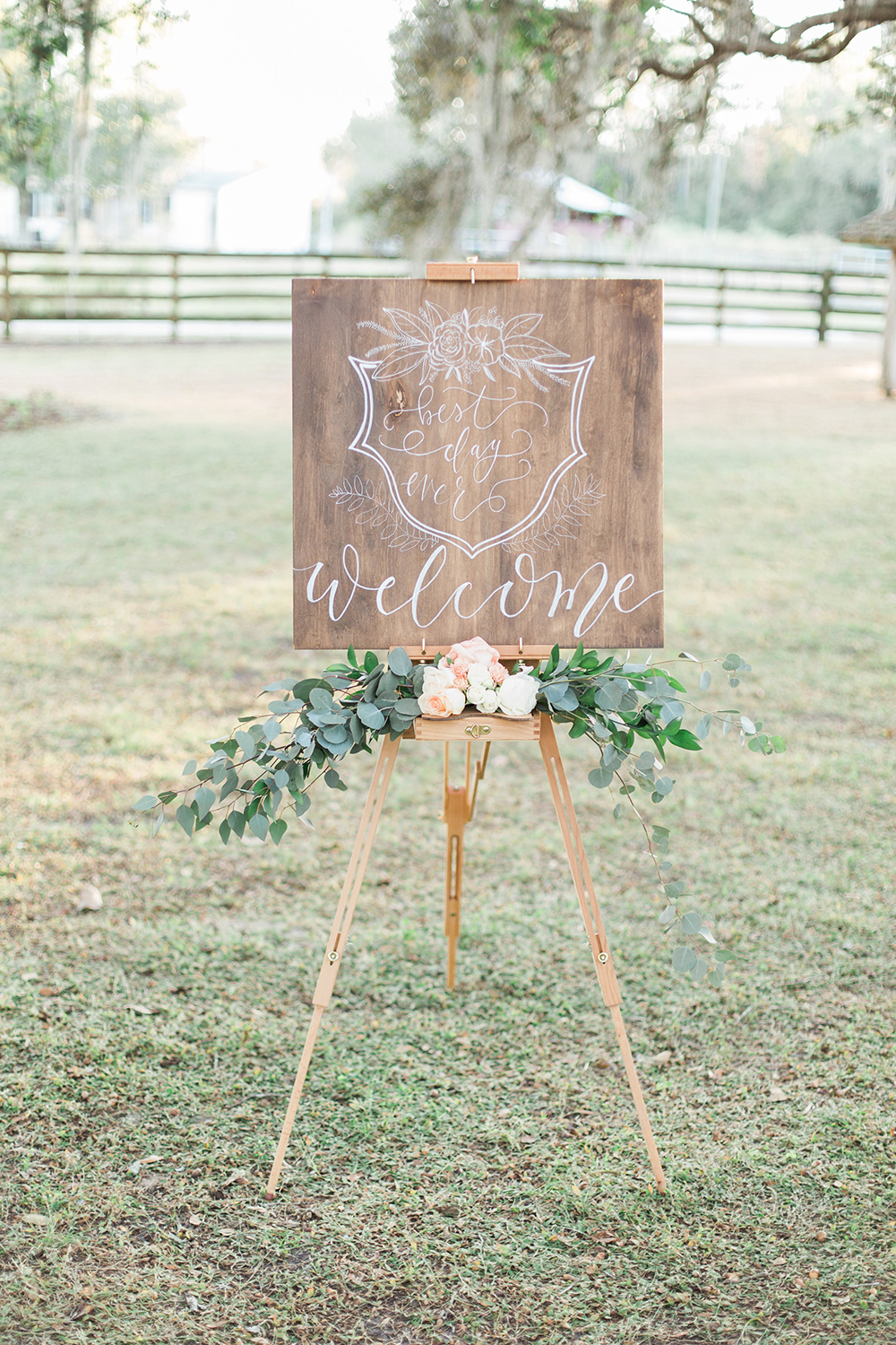 wedding signs - photo by Landon Hendrick Photography http://ruffledblog.com/southern-garden-chic-wedding-inspiration