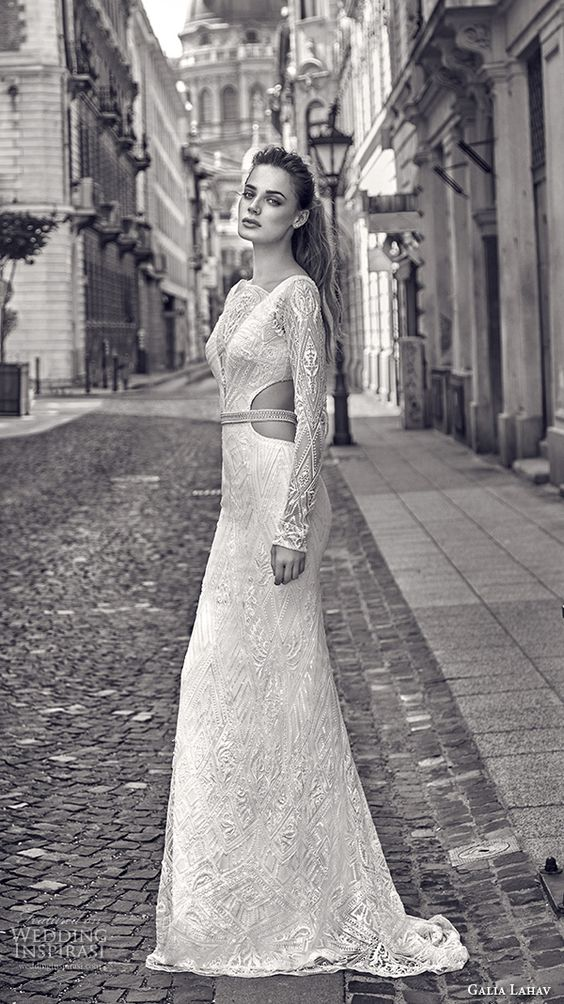 refined lace wedding dress with long sleeves and side cutouts