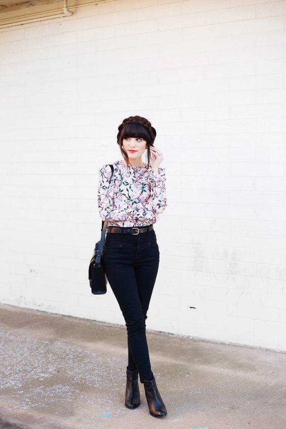 16 black denim, a subtle floral blouse and leather boots