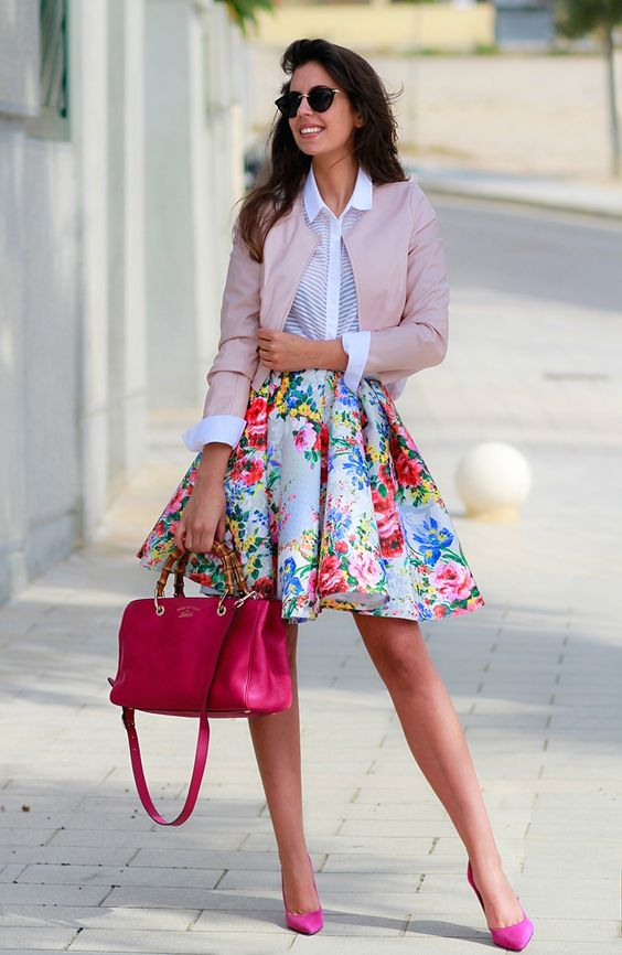 a bold A-line skirt, a white shirt, a blush leather jacket and hot pink shoes