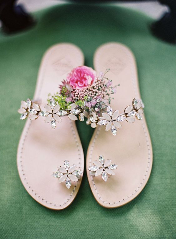 unique crystal flower sandals for a garden bride