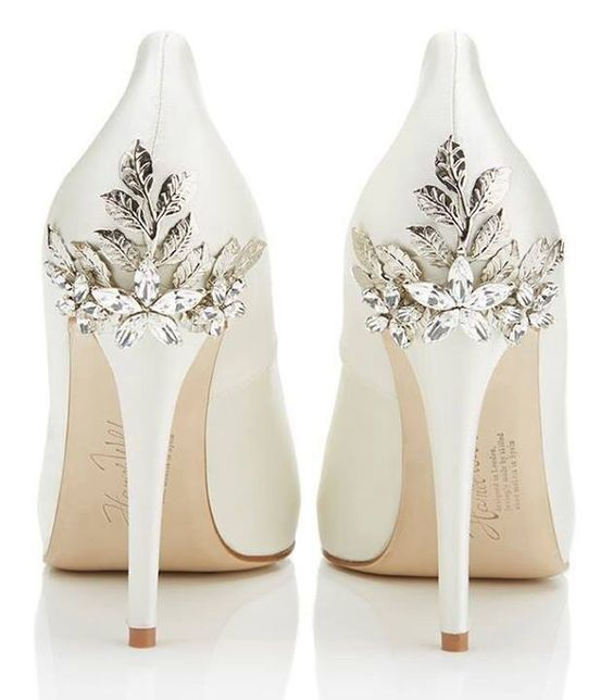 white heels with metallic flowers and leaves for an elegant yet feminine look