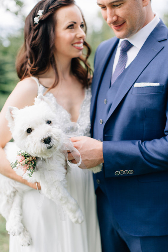 The couple's dog took part in the wedding and it was wearing a cool floral collar