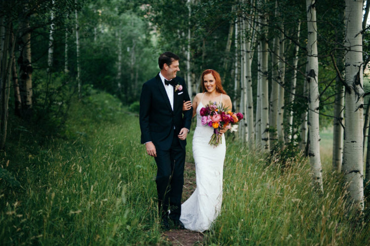 This wedding took place in Aspen, and the theme was boho meets glam