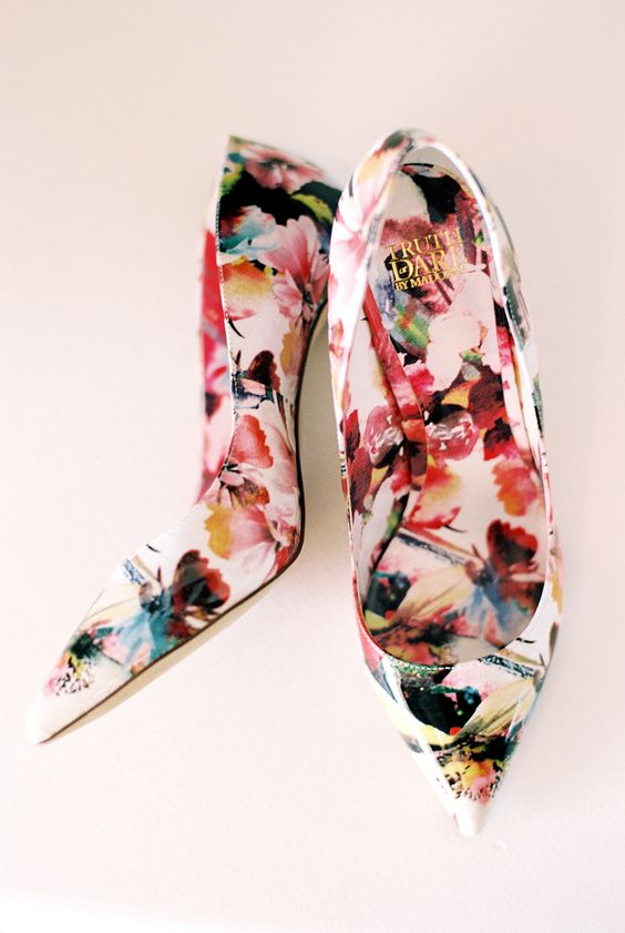 bold floral shoes to make a statement at your wedding