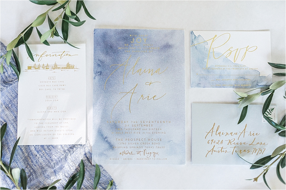 watercolor wedding invitations - photo by Flora and Fauna http://ruffledblog.com/modern-bohemian-wedding-with-an-air-plant-bouquet