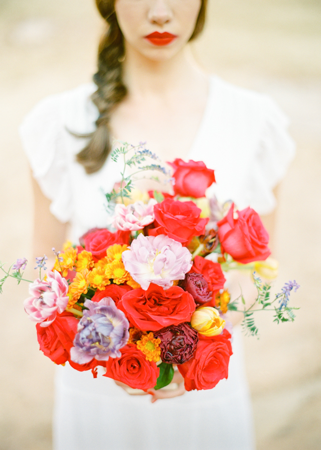 Colorful bridal bouquet with red and yellow | Kir & Ira Photography