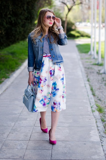 With striped shirt, floral midi skirt, denim jacket and light blue bag
