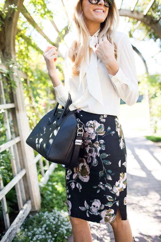 business chic outfit with a black floral pencil skirt, a white blouse