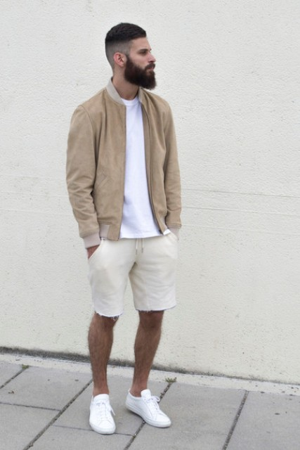 Beige jacket with white t-shirt and beige shorts