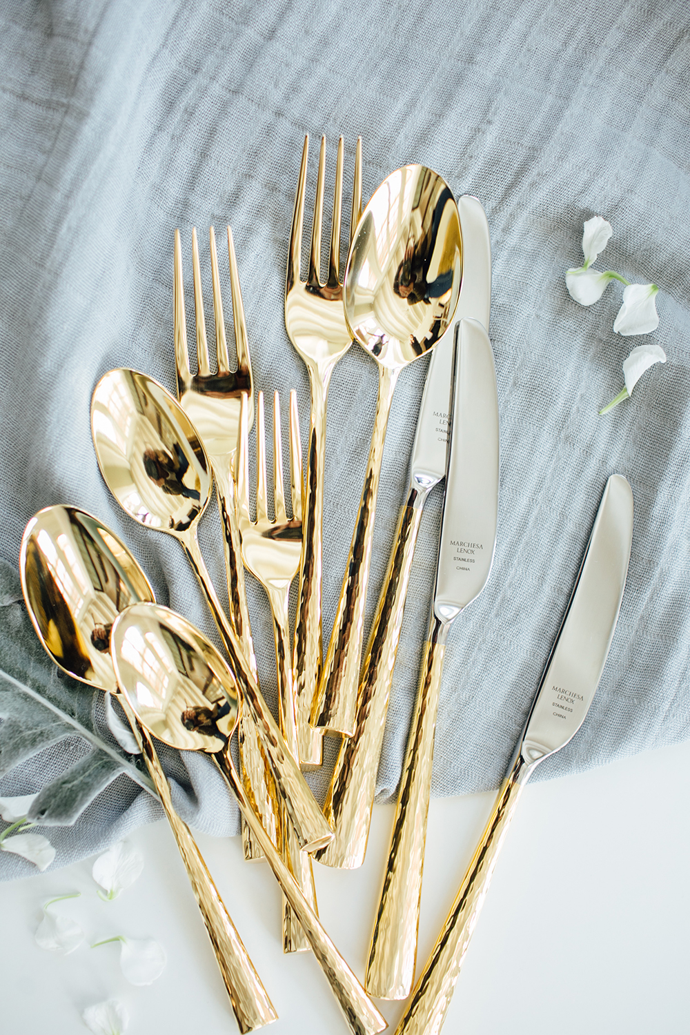 Lenox Marchesa flatware - http://ruffledblog.com/design-your-first-home-together-with-bloomingdales-registry