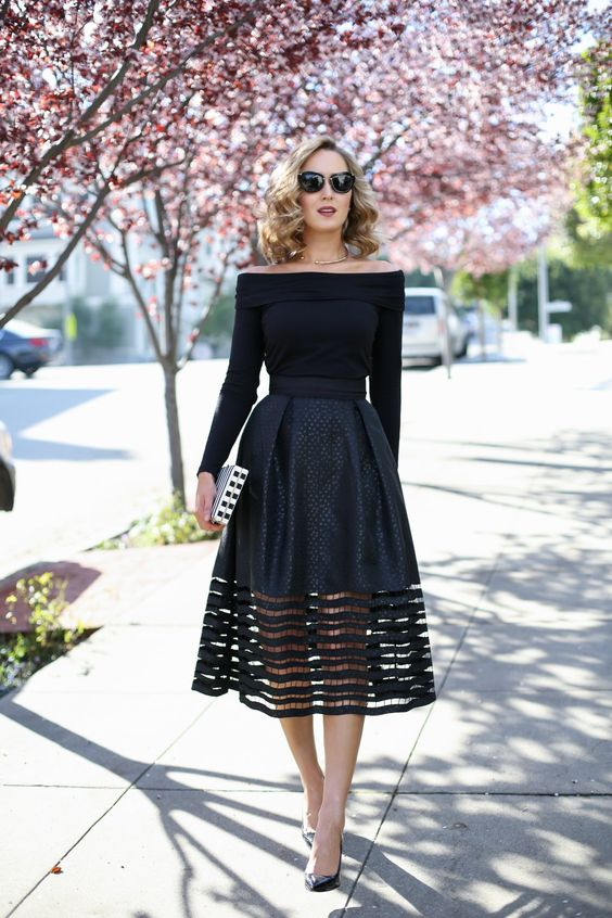 a black off the shoulder top, a cut off midi skirt and heels for some special occasion