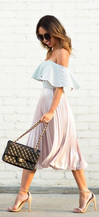 a blush pleated midi skirt, a striped off the shoulder and nude heels