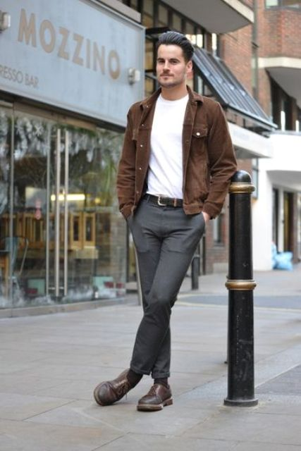 With white t-shirt, gray trousers and brown shoes