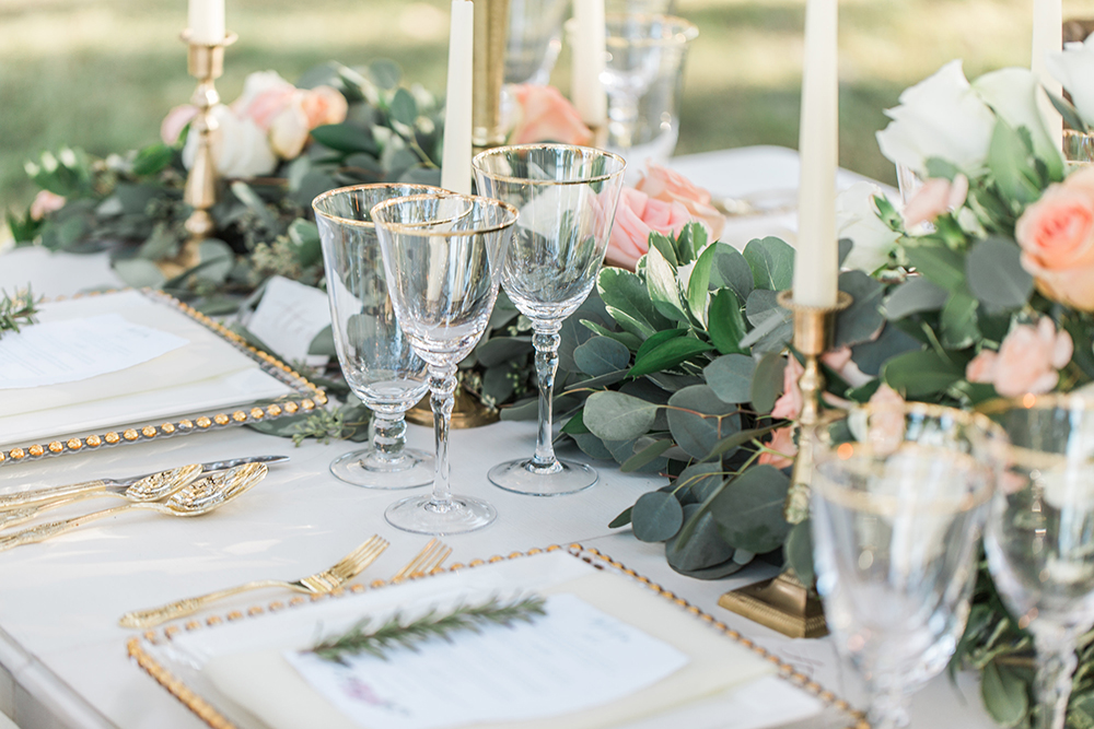 wedding tables - photo by Landon Hendrick Photography http://ruffledblog.com/southern-garden-chic-wedding-inspiration