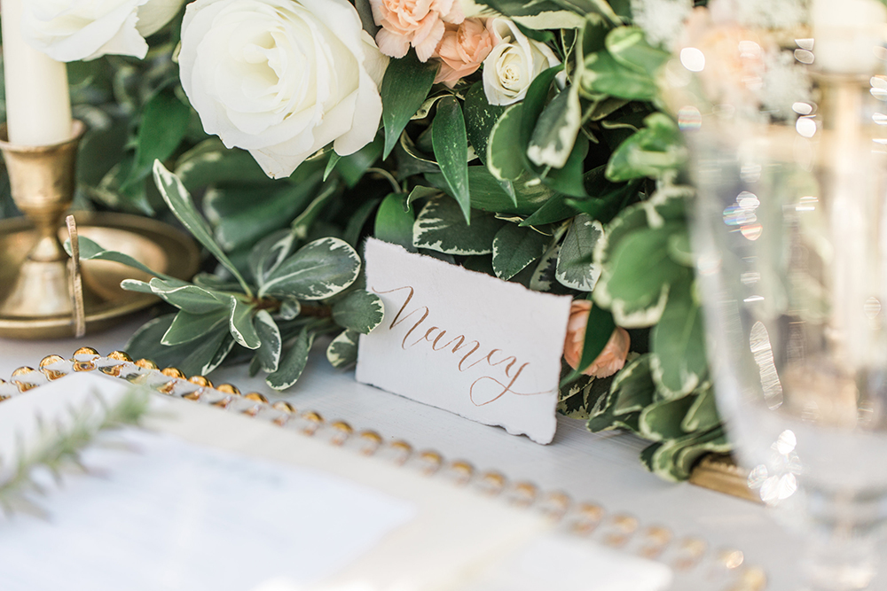 name cards - photo by Landon Hendrick Photography http://ruffledblog.com/southern-garden-chic-wedding-inspiration