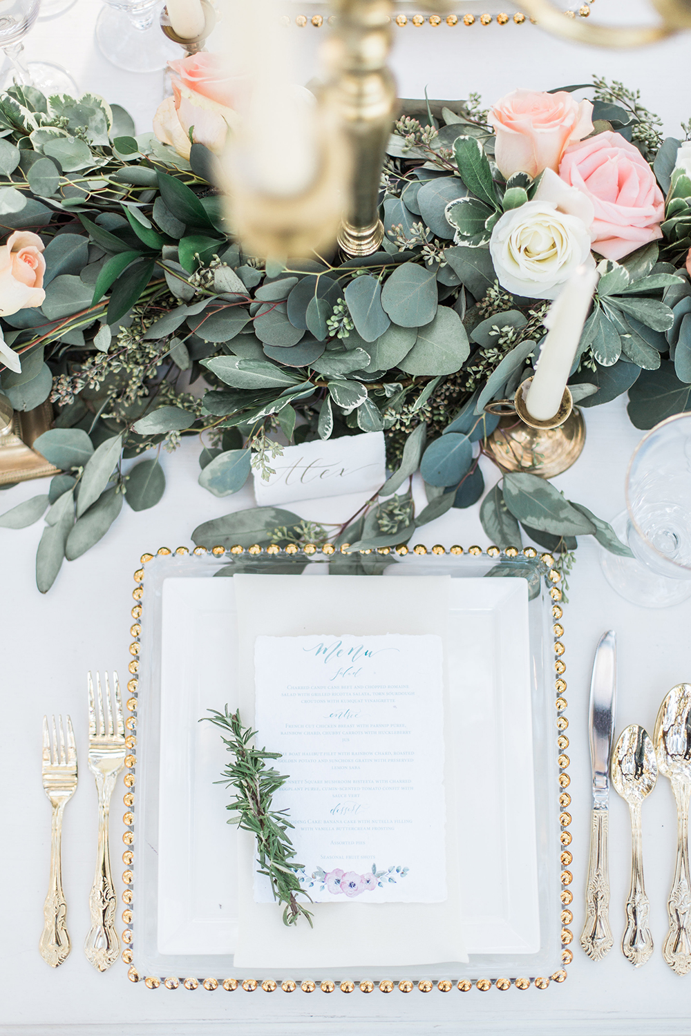 romantic place settings - photo by Landon Hendrick Photography http://ruffledblog.com/southern-garden-chic-wedding-inspiration