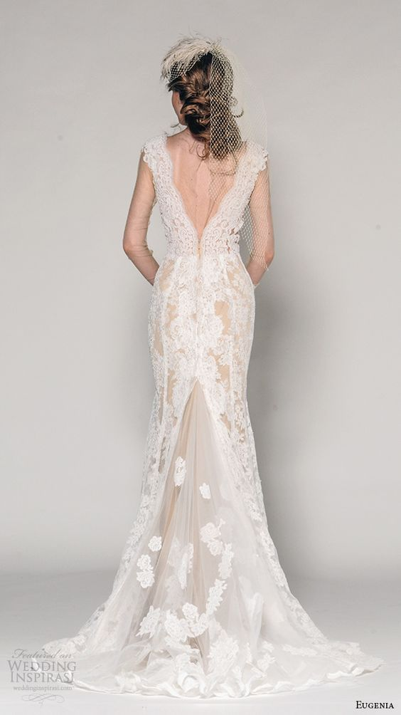 cap sleeves lace embroidered wedding dress with a V cut back