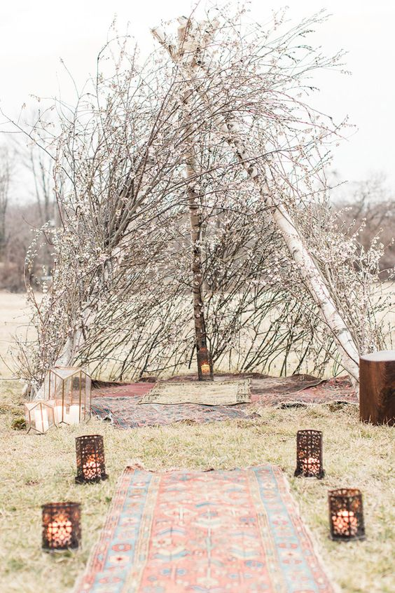 boho tent altar of willow and cherry blossom is ideal for spring