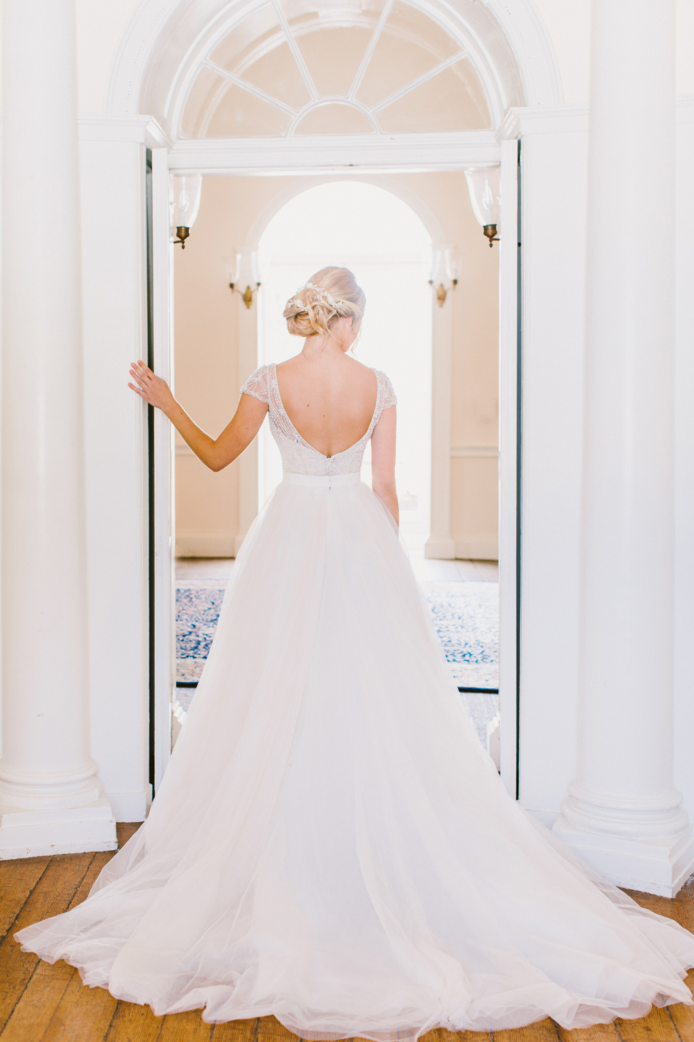 Sinatra Kallin two piece wedding gown - http://ruffledblog.com/drool-worthy-wedding-gowns-we-cant-stop-looking-at photo Redfield Photography