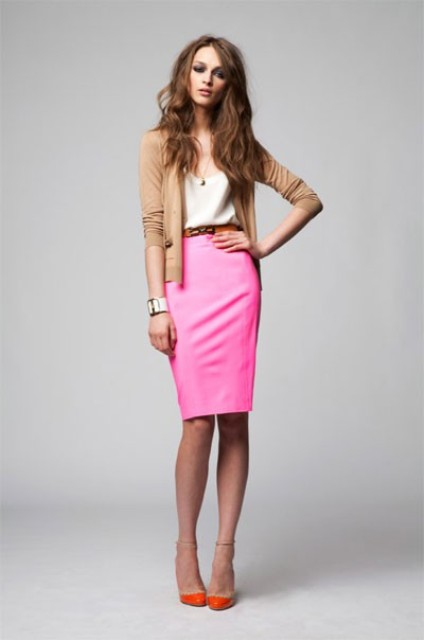 With beige shirt, pink pencil skirt and camel blazer