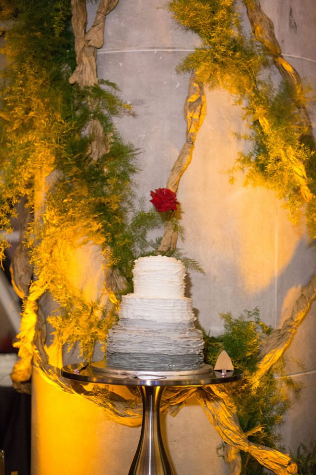The wedding cake was a ruffled ombre one with a floating rose topper