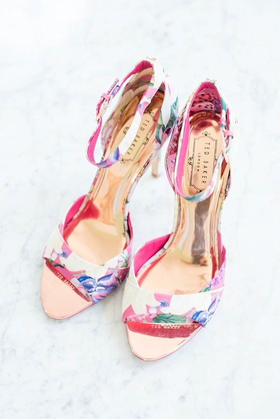 pink floral heels with straps for a colorful touch