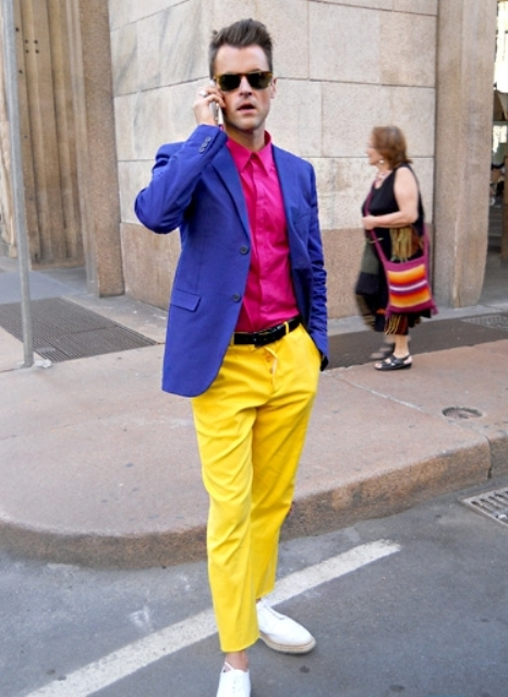 With pink shirt, bright color jacket and white shoes