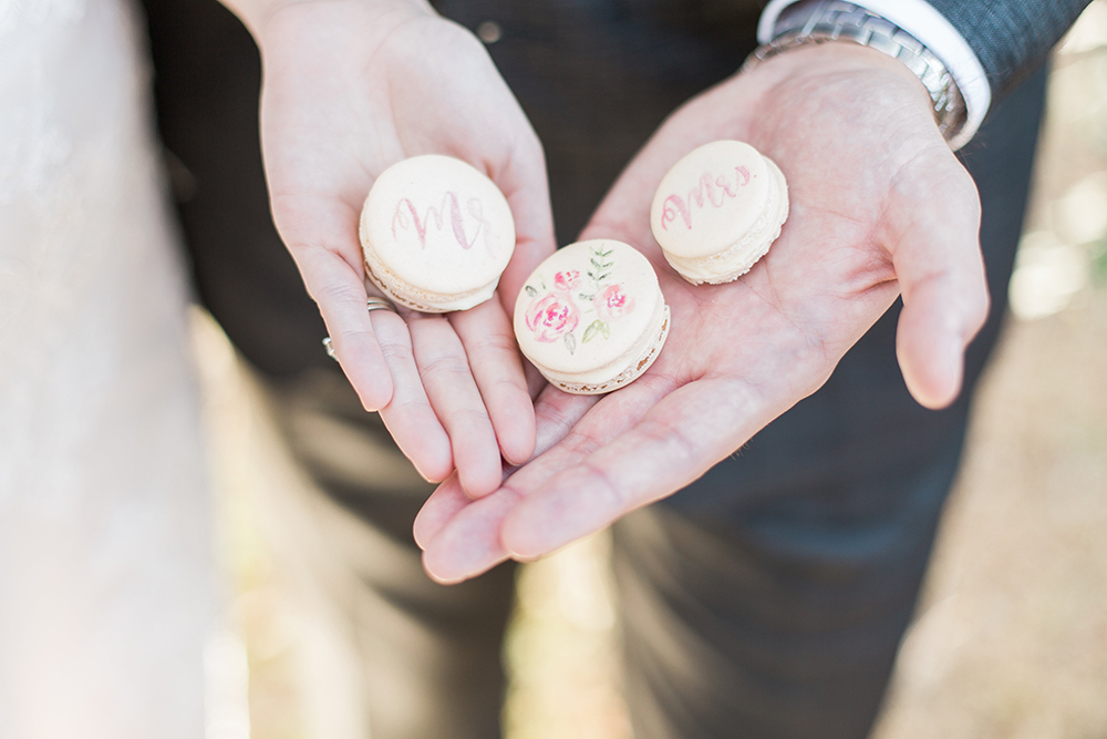 wedding macarons - photo by Landon Hendrick Photography http://ruffledblog.com/southern-garden-chic-wedding-inspiration